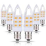 JandCase C7 LED Candelabra Night Light Bulb, 15W Incandescent Equivalent, 2W, 200LM, 3000K Warm White Bulbs, Candelabra Base E12, Window Candle, 6 Pack
