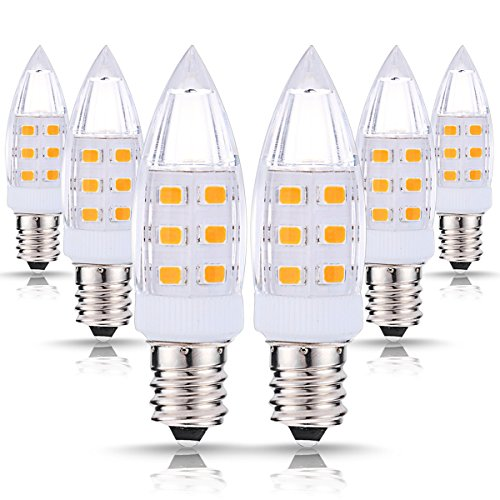 JandCase LED C7 Candelabra Night Light Bulbs, 2W (15W Incandescent Equivalent), 200LM, Warm White (3000K), Candelabra Base Bulbs for Salt Lamp, Mason Jar, Window Candle, 6 Pack Mason Jar Base
