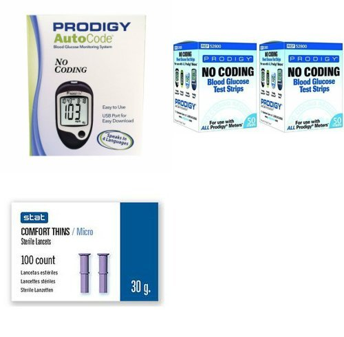 Prodigy-Auto-Code-Diabetes-Testing-Kit-Prodigy-TALKING-Meter-100-Prodigy-Auto-Code-Test-Strips-100-Comfort-Lancets-Carry-Case-Manual