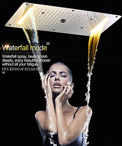 Gowe 5 Function Recessed Ceiling LED Shower Set Bathroom Accessories 700380mm Electric Shower Rainfall,Waterfall,Misty,Water Column 5