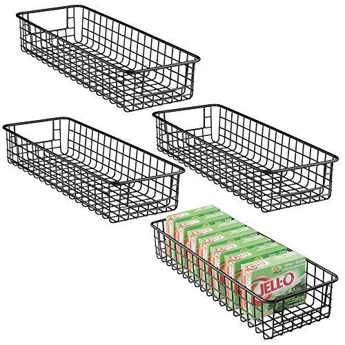 mDesign Household Wire Drawer Organizer Tray, Storage Organizer Bin Basket, Built-In Handles - for Kitchen Cabinets, Drawers, Pantry, Closet, Bedroom, Bathroom - 16 x 6 x 3 - 4 Pack - Matte Black