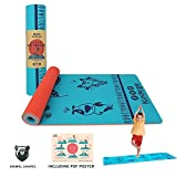 Kindergie Yoga Mat for Kids with Special Teaching Design – Child Size Yoga mat for Boys & Girls 2 to 10 Years Old – Thick & Non Toxic Yoga Mat for Toddlers and Children