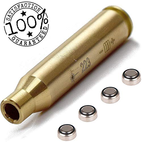 PANAMOO 223 Laser Bore Sight Red Dot in-Chamber Cartridge, 223 REM / 5.56 Brass Laser Boresighter to Align The Firearm Barrel and Sighting with Micro Fiber Cloth (Best Laser Bore Sight Ar 15)