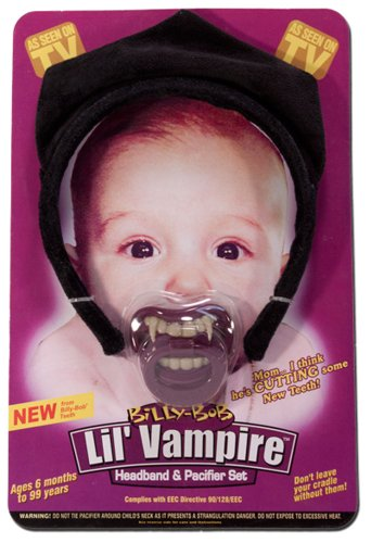 Lil Vampire Headband and Pacifier Set Infant Halloween Fangs Costume Accessory (Bella Cullen Costume)
