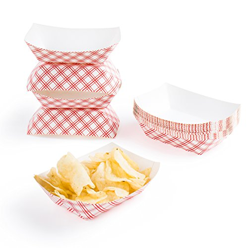 Disposable Paper Food Tray for Carnivals, Fairs, Festivals, and Picnics. Holds Nachos, Fries, Hot Corn Dogs, and More! - 2.5-Pound, 50-Pack]()