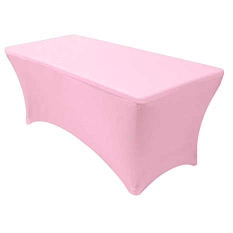 Your Chair Covers Stretch Spandex 6 Ft Rectangular Table Cover Pink 72 Length X 30 Width X 30 Height Fitted Tablecloth For Standard Folding