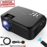 Mini Projector, DBPOWER 2018 Upgraded +80% brightness LCD Video Projector 176'' Display 50,000 Hours LED Portable Projector support 1080P, Compatiable with HDMI,AV, USB, SD, Amazon Fire TV Stick