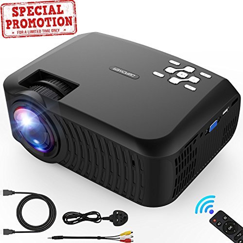Mini Projector, DBPOWER 2018 Upgraded +80% brightness LCD Video Projector 176'' Display 50,000 Hours LED Portable Projector support 1080P, Compatiable with HDMI,AV, USB, SD, Amazon Fire TV Stick by DBPOWER