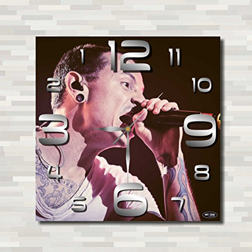 Clock Bennington (Linkin Park - Chester Bennington 11.8'' Handmade unique REVERSE Wall Clock - Get unique décor for home or office – Best gift ideas for kids, friends, parents)