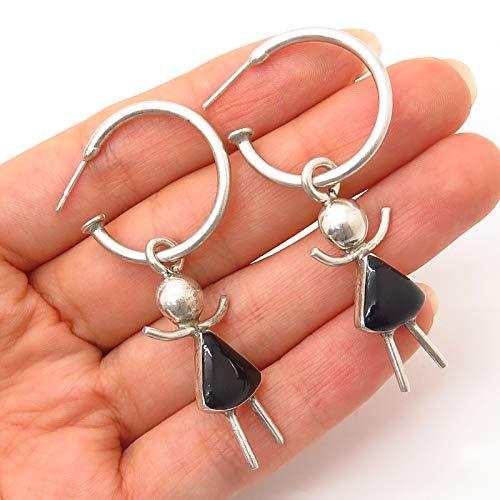 925 Sterling Silver Vintage Mexico Black Onyx Gem Girl Design Hoop Earrings
