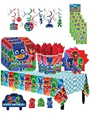 PJ Masks Birthday Party Supply Bundle Pack for 16 includes Plates, Napkins, Cups, Table Cover, Swirl Hanging Decorations, Candles, Stickers