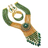 Product review for aczuv Fashion Crystal Beaded Multi Layers Necklace Nigerian Wedding African Beads Jewelry Set for Women