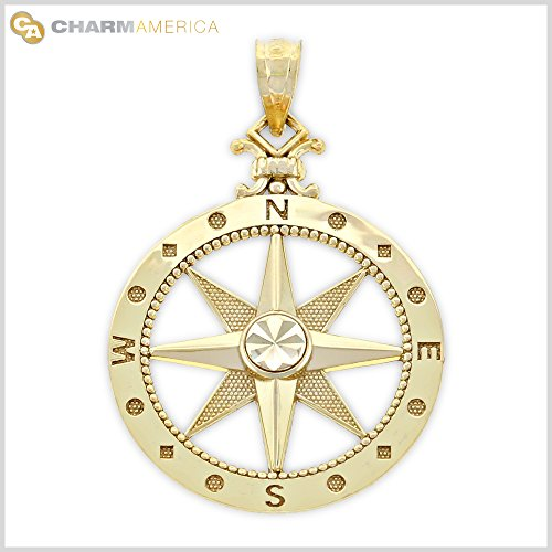 Gold Compass Charm, 14K Solid Gold