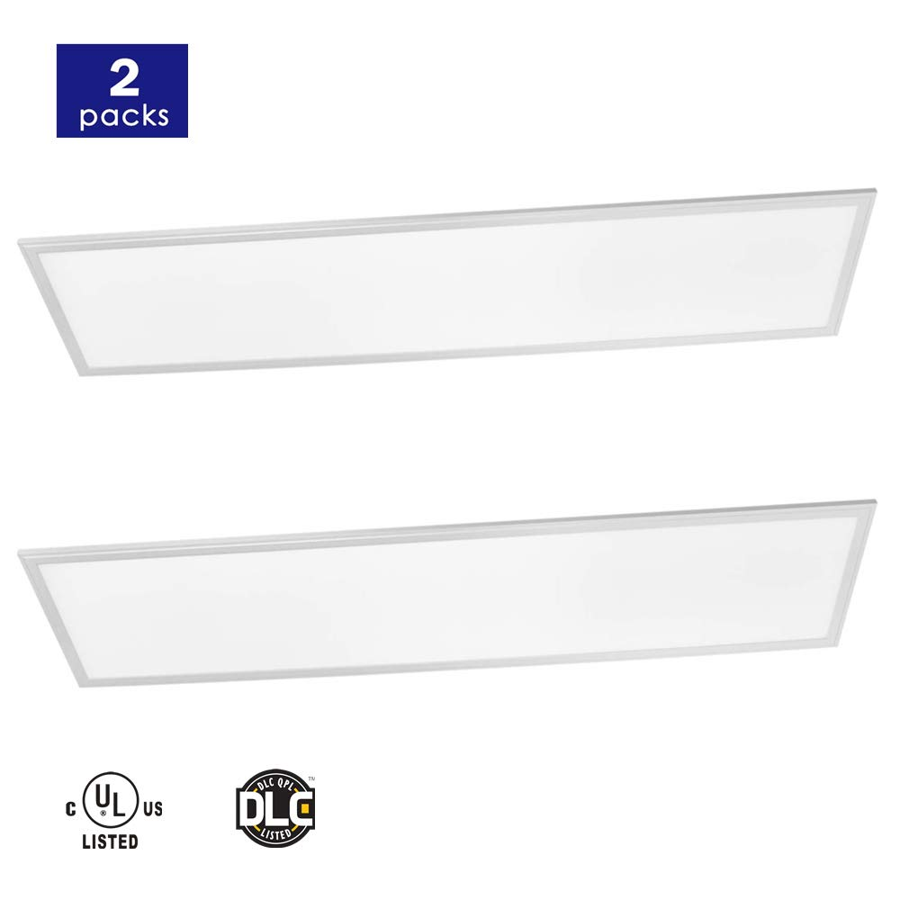 LED Flat Panel Light 1x4 FT 2-Pack, 45W 5000K Daylight, 5400 Lumens, 0-10V Dimmable Drop Ceiling Light, DLC and UL Certified