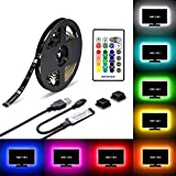#5: WENICE LED TV backlight 55inch-65inch TV to 70inch, USB LED strip lights Kit 3m/9.9ft with 24key IR Remote - 16 Color 5050 Leds Bias Lighting for HDTV(118in)
