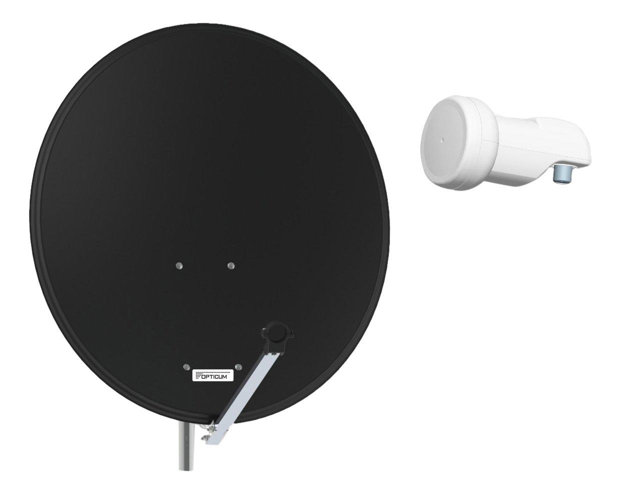Opticum QA 80 sat/élites Gris Acero Antena con LNB Simple Monobloque LMTP 04 A//H