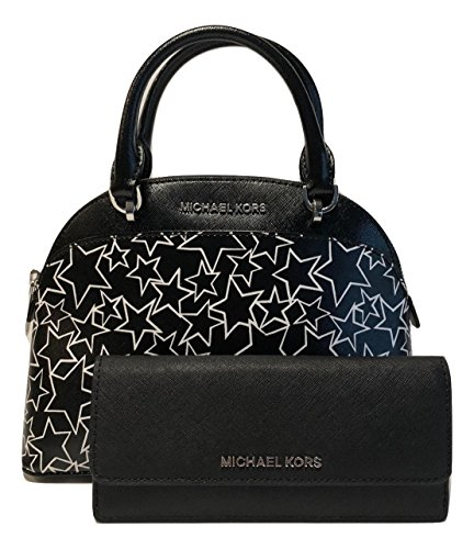 MICHAEL Michael Kors Emmy SM Dome Satchel bundle with Michael Kors Jet Set Travel Flat Wallet (Black/White - Kors White Black Michael And
