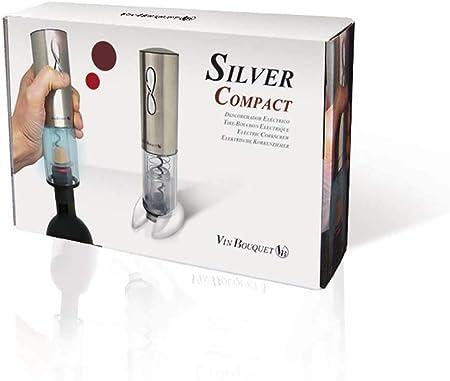 Vin Bouquet FID 004 Sacacorchos eléctrico Compact, Incluye descapsulador y Cargador, Manganese Steel, Plata, 18 x 26.5 x 5.5 cm