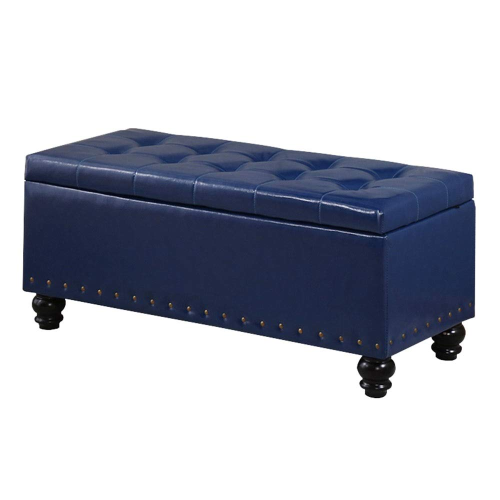 blueee L110×W40×H40cm Clothing Store Rest Stool Storage Stool Household Bed End Stool shoes Store Change shoes Bench Imitation Leather Sofa Stool Bench Storage Box GW (color   Brown, Size   L90×W40×H40cm)