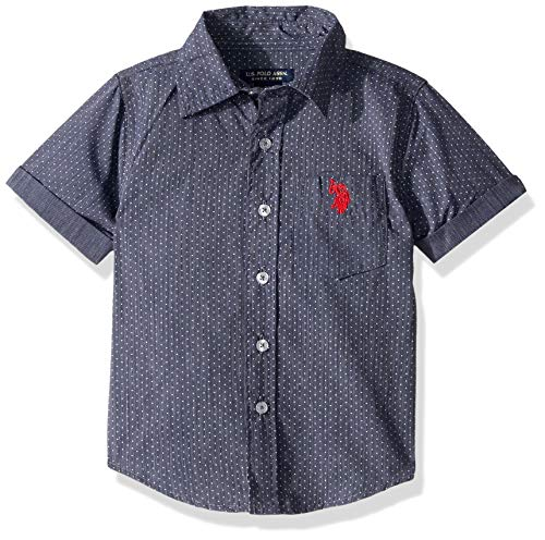 U.S. Polo Assn. Boys' Little Short Sleeve Striped Woven Shirt, Classic Navy, 5/6