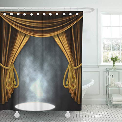 Emvency Shower Curtain Red Academy Theater Stage with Open Golden Curtains and Three Spotlights and Smoke Announcement Shower Curtains Sets with Hooks 60 x 72 Inches Waterproof Polyester Fabric ()