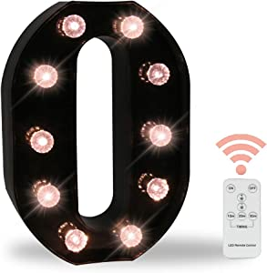 26 LED Letters Light Alphabet Marquee Signs, Ampersand Remote Timer Light Up Signs with Letters Desk Table Lamp for Bedroom, Bar, Wall Decor- Black Letter O