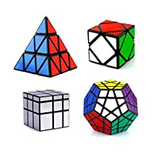 I-xun® Magic cube of Irregualr cubes, Smooth Skewb Megaminx Pyraminx Puzzle Cubes (Pack of 4)