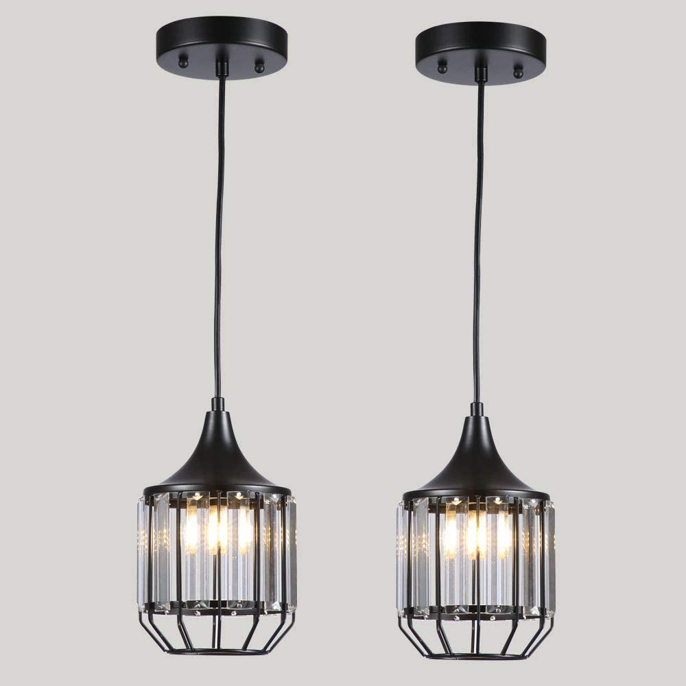 Chandelier Crystal Pendant Lighting Black Pendant Lights, Ceiling Lights for Kitchen, Dining Room, Living Room, Restaurant