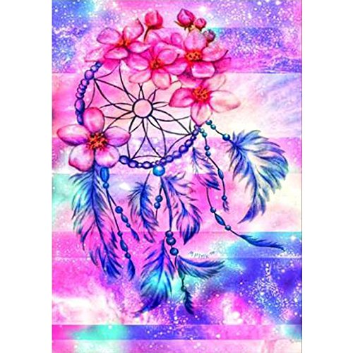 DIY 5D Diamond Painting by Number Kits Full Drill Rhinestone Embroidery Cross Stitch Pictures Arts Craft for Home Wall Decor Dream Catcher - Dreams Stitch Cross