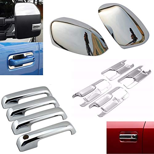 EZ Motoring Chrome Top Half Mirror Cover + 4 Door Handle Covers + Back Plate fit 2017-2019 Ford F250 F350 F450 Super Duty (NOT fit F150)