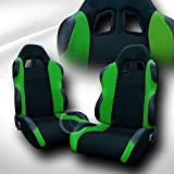 95 camaro racing seats - Universal JDM-TS BLK/Green Cloth CAR Racing Bucket SEAT+Sliders Pair JAP Vehicle