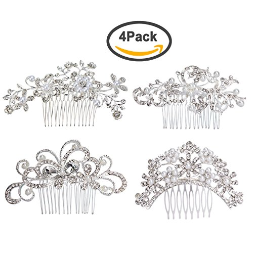 ANBALA Pack of 4 Bridal Wedding Hair Comb, Crystal Rhinestones Pearls Women Wedding Hair Comb, Wedding Decoration Headpiece for Brides, Silver