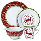 Cheap Pfaltzgraff Dancing Snowflakes 48 Piece Dinnerware Set, Service for 12