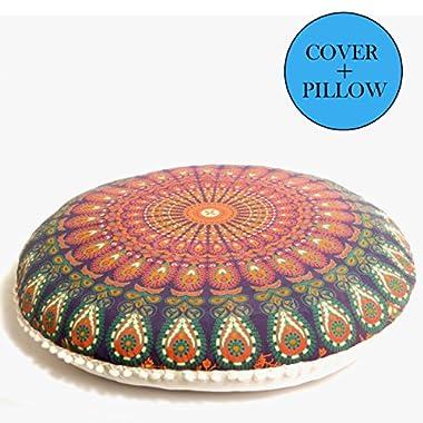 Bohemian Décor Floor Cushion - INSERT INCLUDED - 30  Meditation Pillow Pouf - 100% Hand Printed Organic Cotton by Mandala Life ART(Orange)