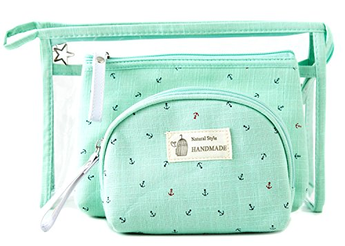10a9a23d54ce Zhoma 3 Piece Cosmetic Bag Set - Makeup Bags And Travel Case - Mint Green -  Buy Online in Oman.