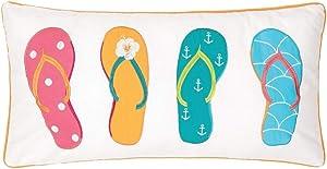 C&F Home Flip Flops Tropical 12 x 24 Inch Cotton Decorative Throw Pillow