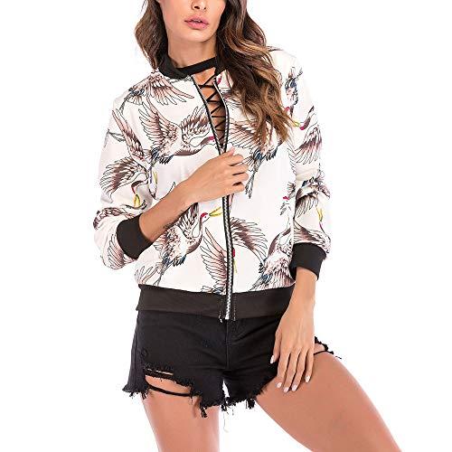 GOVOW Baseball Coat Women Bird Print Blouse Fashion Casual Loose Soft Zipper Jacket(US:6/CN:M,White)