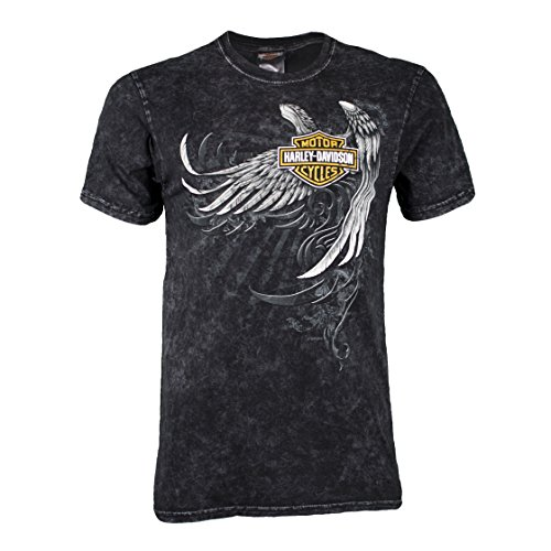 Harley Davidson Wings - Harley-Davidson Badlands Men's Wing Skull T-Shirt (Large, Black Dye)