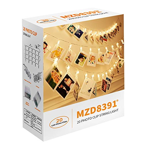 Gallery 20 Light - MZD8391 20 Photo Clips String Lights/Holder, Indoor Fairy String Lights for Hanging Photos Pictures Cards and Memos, Ideal Gift Photo Clip Holder Warm White