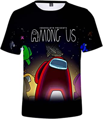 EMLAI Hombre Camiseta Among Us Impresión Digital 3D T-Shirt Moda Casual Verano Manga Corta Cool tee Tops