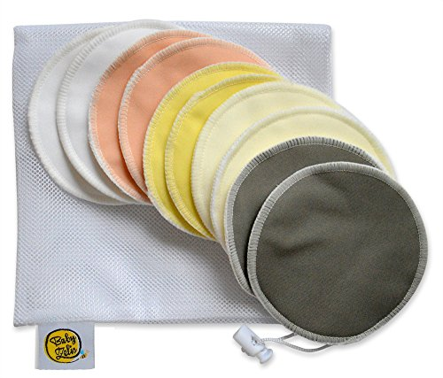 Organic Bamboo Nursing Pads (10 Pack) With Laundry Bag by Baby Zeli - Ultra Soft, Reusable, Hypoallergenic, Washable Breastfeeding Pads