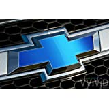 "VVIVID Blue Matte Metallic Auto Emblem Vinyl Wrap Overlay Cut-Your-Own Decal for Chevy Bowtie Grill, Rear Logo DIY Easy to Install 11.80"" x 4"" Sheets (x2)"
