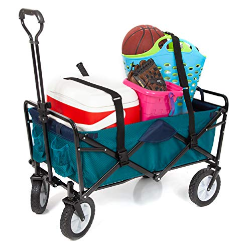 Mac Sports Collapsible Folding Outdoor Utility Wagon Bundle Straps - Teal