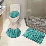 jwchijimwyc Turquoise pattern Wall of Turquoise Wooden Texture Background and Antique Timber Furniture Artful Print 3 Piece Toilet mat set Blue