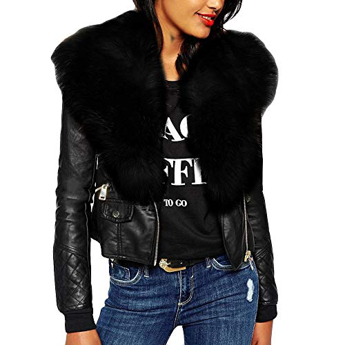 Londony ♥‿♥ Clearance Leather Jackets for Women,Ladies Faux Fur Collar Suede Zipper Leather Moto Short Jacket