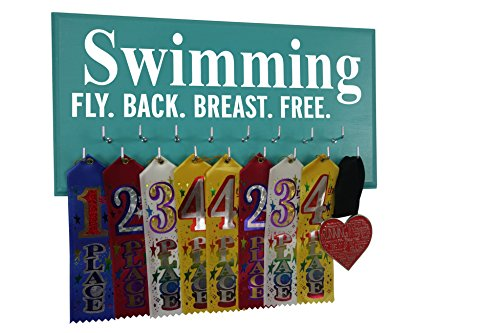 (RunningontheWall Swimming Ribbon Holder, Swimming Gifts Girls Swimming Fly. Back. Breast. Free. Swimmer Medal Holder, Swimming Award Display Rack)