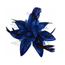 Royal Blue Spotted Net Flower and Feather Bridal Hair Comb Fascinator