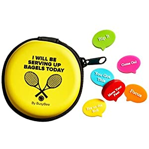BusyBee Tennis Vibration Dampener in Fun Zipper Gift Pack. Best Shock Absorber (6 count) plus a Bonus: Exclusive Mobile App 3 Months Trial