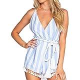 Evoky Women's Summer Stripe Tassel Romper Jumpsuit (LL78071, L)