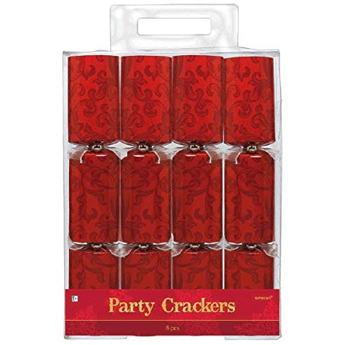 Party Pieces Christmas Crackers - Amscan Festive Christmas Paper Crackers (8 Piece), 12 1/4